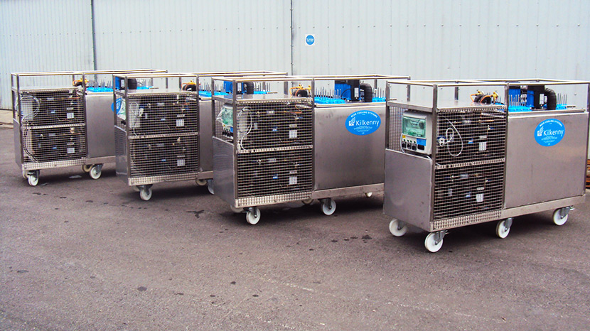 Ultra-high volume mobile beer cooling systems with durable design features