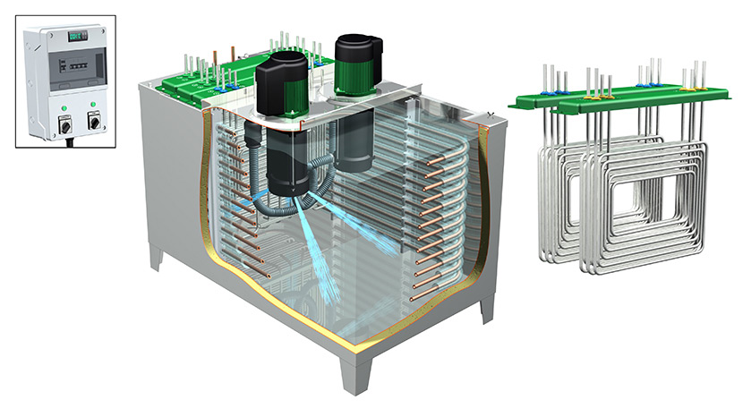 VFD energy efficient beer cooling system cutaway view