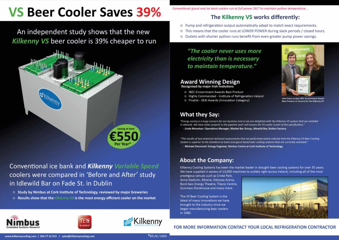 Kilkenny Cooling Systems VS Beer Cooler flyer